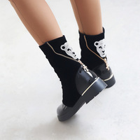 Boots female spring and autumn fashion casual 2014 rhinestone diamond leopard head low-heeled leather thick heel mosaic female