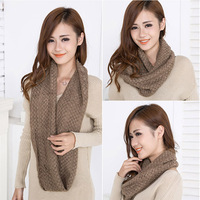 fashion infinity scarf knitting winter muffler scarves  women's solid color collars hood scarf#L03092