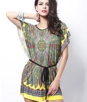 New summer dress, national wind printing large size dress, waist bat sleeve silk dress ice