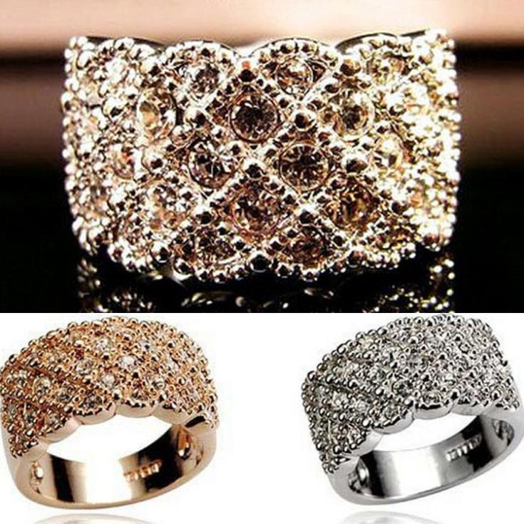 New Arrival Women Fashion Jewelry Luxury Full Rhinestone Ring Sparkling Rings Gold Silver 2 Colors RING-0084(China (Mainland))