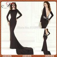 ZP072 New Sexy Scoop Long Sleeves Prom Dress 2015 Black Long Evening Dress Sexy Mermaid Long Train vestido de formatura Fashion