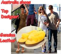Ship EMS Winter Top Designer Genuine Leather Ship Skin Women Flats Brand Warm Wool Fur Ladies Australia Loafers Plus Size 35-41