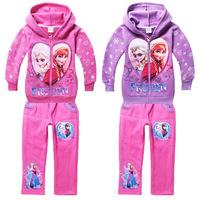 2014 High Fashion cartoon Frozen Queens Children Fleece sports suit  Kid jacket+pant,Girls thickened sweatshirt+trousers Twinset