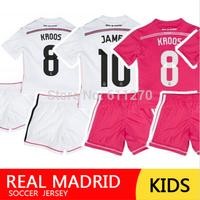 Soccer Jersey Real Madrid Kids 2015 Pink Ronaldo Bale KROOS JAMES camiseta real madrid jersey Uniform Children football kits