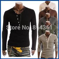 TOP Fashion 2014 New Men Summer T Shirt Long Sleeve Round Neck Cotton Unique Design Men Casual T-shirt Free Shipping