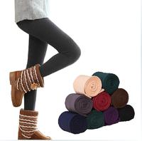 Promotion candy color fashion  plus velvet warm leggings autumn winter for women