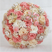 2014 New Wedding Accessories Decoration,Hand Made Artifical Pearl Beaded Brooch Silk Rose Bridal Bouquet.Pink Multi Champagne