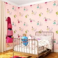 Wallpaper child real wallpaper romantic rustic non-woven wallpaper green eco-friendly breathable