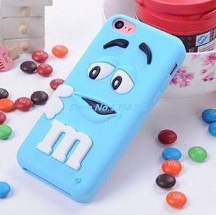 For iphone 5 5s Lovely M&M Chocolate candy rubber silicone cartoon cell phone Case Colorful Back Defender Rainbow Beans Cover(China (Mainland))