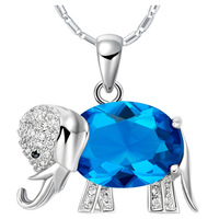 FN002  Sterling Silver Crystal Elephant Pendant Necklace Women Statement Sapphire Jewelry Wedding Accessories Christmas