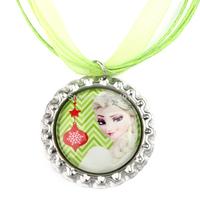 20pcs Frozen Christmas Necklace, Merry Christmas Elsa Necklace,Green Ribbon Necklace, Bottle Cap Necklace