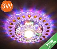 3W LED Crystal Ceiling Light + 110-240V + LED Indoor Light +Free shipping