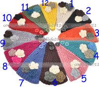 New Style Three Flower Crochet Knitted Headband Hairband Headwrap Ear Warmer Free shipping