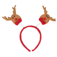 Antlers headband Christmas decorations adult children dress Christmas Hair Buckle-brown+red-22000590