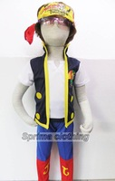 New 2-7years Kid Halloween Costumes Boy Short Sleeve Role-playing Cosplay Play Clothes Coat+ Pants+ Scarf 3PCS Suit Set SV009971