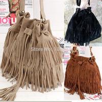 Stylish Suede Tassel Bucket Handbag Hobo Crossbody Messenger Shoulder Tote Bag Free Shipping 1pcs/lot