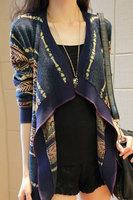 New Style 2014 Women Autumn Cardigans Sweater Aztec Design Oversized Long Shawl Knitted Cardigan B7047 Fshow