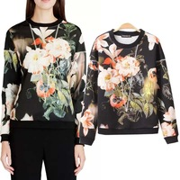 2014 autumn pastoral printing in new European and American style crewneck Turtleneck women's sweater pullover