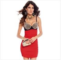 2014 New Arrival Women Dress Sexy Dress Fashion Rivet Club Dress,SB319