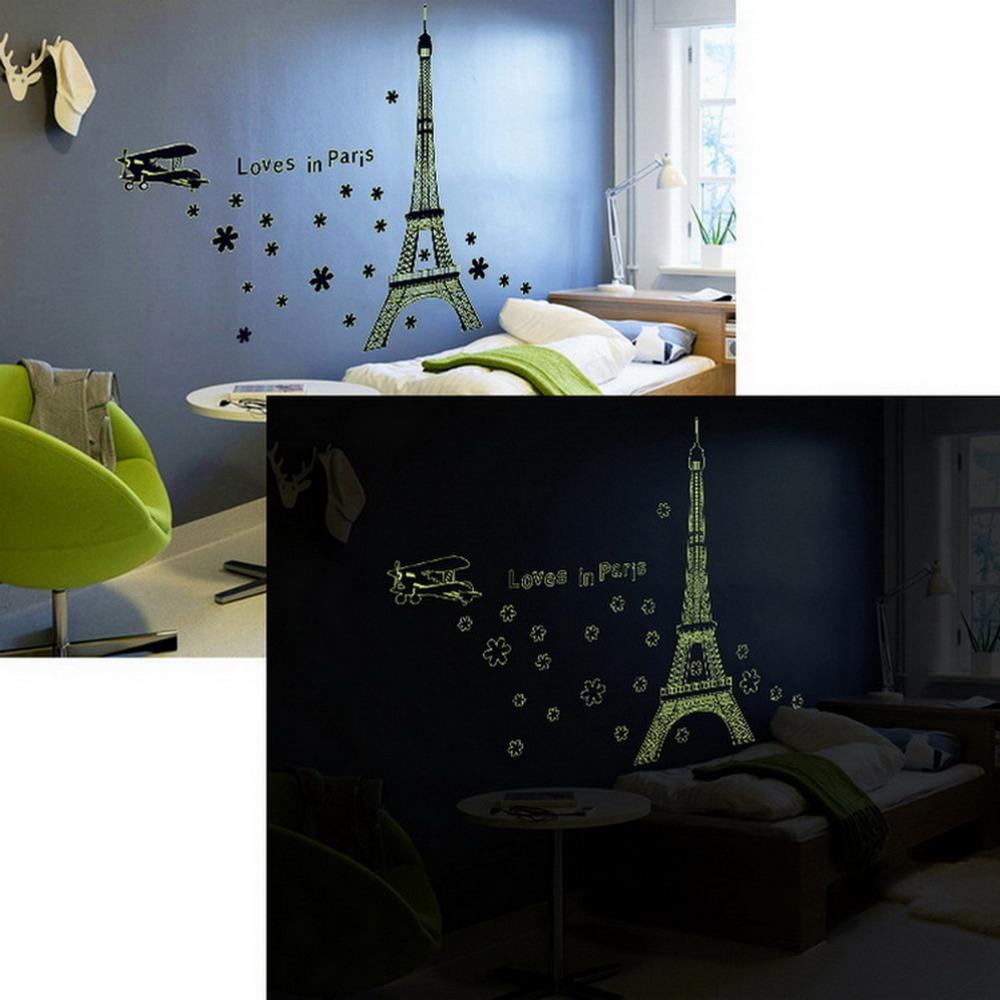 Diy torre Eiffel Luminous da parede do vinil menina menino crianças romântico papel de parede House decorativos decalques adesivos(China (Mainland))