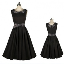 2014 Casual Elegant Dresses Women Sleeveless Party Vintage Prom solid Dresses black pinup Plus Size