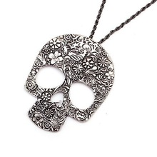 Shadela Fashion jewelry vintage carved skull pendant necklace Necklaces & Pendants antique silver CX093 coupon