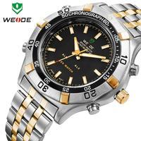 WEIDE wristwatch stainless steel men watch sport waterproof quartz 3 ATM water resistant Japan movement new dropship