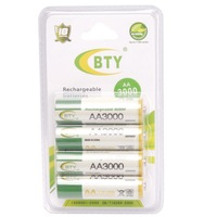 BTY 4pcs 1.2V 3000mAh Rechargeable AA Battery, Suitable for Digital Camera, battery powered device and toy Free Shipping