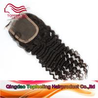 Lace closure Malaysian virgin hair deep curly cheap human hair closure 4x4inch free/middle/3 way part swiss lace top closure #1b