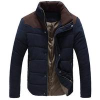 M-5XL Winter Jacket Men Cotton Casual Down Jacket Parkas Thick Outdoors Outwear Fashion Patchwork Plus Size Coat 30148