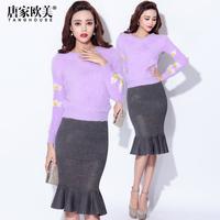 winter 2014 female all-match fashion long-sleeve flower decoration sweater