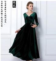 2014 New Velvet Warm Plus size Winter Ankle-Length Dress Women Blue Wine Red Green Black Slim Vintage Casual Dress Tunics Aa93