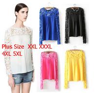 Plus Size 4XL 5XL 2014 new Spring Autumn  women long-sleeved chiffon blouse hollow flower Lace Blouse Shirt  Slim Bottoming Wear