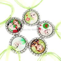20pcs Frozen - Christmas Party Favor - Frozen Christmas Green Ribbon necklace - Bottlecap Necklace Princess Elsa and Anna