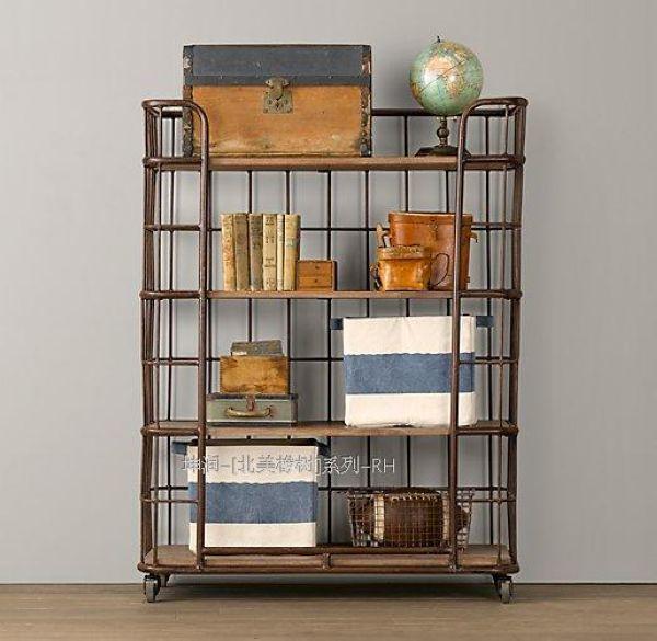 Amerikaanse dorp vintage smeedijzeren hout ikea keuken rekken beweegbare landmark boekenplank geven rek lade.jpg