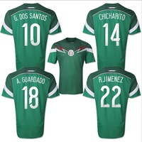 Top A+++ original grade 2014 World Cup Mexico Homedos Santos Chicharito Guardado soccer jersey football jersey soccer shirt