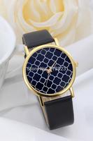 Geneva New Fashion Geometry Gold Dial Leather Band Women Quartz Wrist Watch White & Black