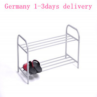 Germany Direct Shipment New Double Metal Tube Shoes Rack Organizer Stand Holder 2 Shelves Shelf Item Easy Storage Silver White