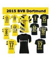Borussia Dortmund 15/14 top Thai quality HOME YELLOW AWAY BLACK REUS Gundogan LEWANDOWSKI HUMMELS SAHIN Soccer Jersey BVB uefa