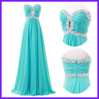 Free Shipping Real Charming Sea Green Sweetheart Beading and Sequins A Line Long Bridesmaid Dress Birthday Dance Gown 4413