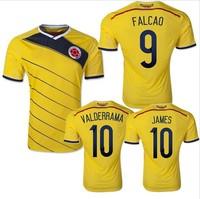 Top A+++ original grade 2014 World Cup Colomabia Home FALCAO VALDERRAMA soccer jersey football jersey soccer shirt