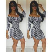 New arrival, High quality! Fashion slash neck long sleeve print Dress, Clubbing Dresses, Size S/M/L, DL21705