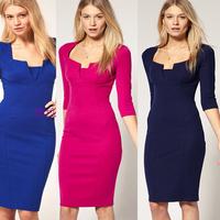 2014 Newest Fashion Womens' Fall Vintage Brief Three Quarter Square Collar Slim Elegant Pencil Knee-Length Casual OL Dress S-XL
