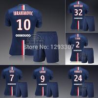 2014 15 Paris Home Ibrahimovic Cavani David Luiz T Silva Football Kit Set of Jersey & kits Men Outfit Soccer Shirt Uniforms