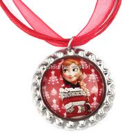 20pcs Frozen Christmas Necklace, Kawaii Anna Necklace, Christmas Red Ribbon Bottle Cap Necklace