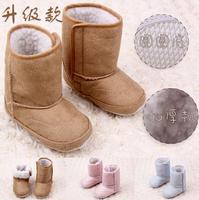 2014 Hot sale baby fur snow boots winter children thick cotton anti-slip shoes infant suede snow boots  496A