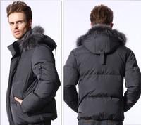 NEW 2014 HOYANP Winter Down Coat Male Short Design Fur Collar Down Coat Casual Men's Clothing Down Jacket Men Big Size 4XL 5XL