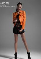 2014 Women fashion autumn outfit inclined zipper brand garment wash PU leather jacket coat