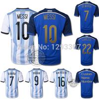 2014 15 Top Thailand AAA+ Best Quality Home & Away Messi Di Maria Kun Aguero Football jersey Men Outfits Soccer Shirt Uniform