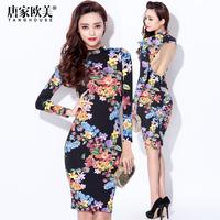 Fashion winter 2014 female sexy charming turtleneck cutout racerback print slim dress